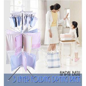 3 layer folding drying rack  ( Ampai Baju ) ready