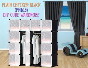 Plain Black 16Cube Diy Wardrobe (PN16B)