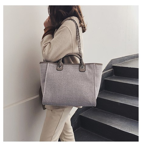 CANVAS TOTE SHOULDER BAG | GRAY