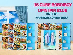 Boboiboy & Upin Ipin Blue 16C DIY Cube w Corner Rack (BB16CB)