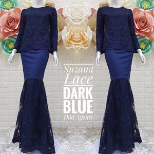 Kurung Suzana Lace Dark Blue (Ready Stok)