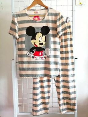 Pyjamas Dewasa Grey Stripe Mickey Love Fhiil