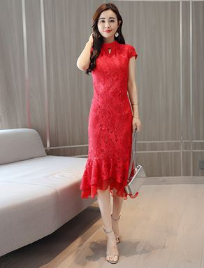 Slim Fishtail Lace Dress