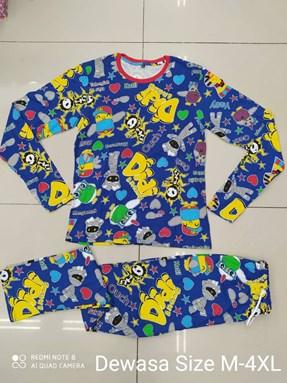 Pyjamas Viral Sleepy Mummy Biru : Size dewasa: M - 4XL