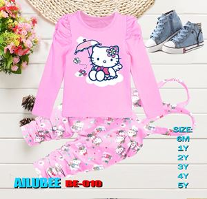 BE010 ( KITTY PINK ) AILUBEE BABY JUMPSUIT 2PCS SET