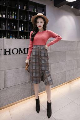 Plaid Woolen Skirt