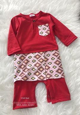Rompers Baju Melayu ( chili red with pink songket Sampin )