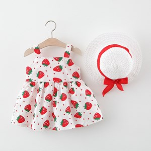 Red Strawberry Baby Dress With Hat