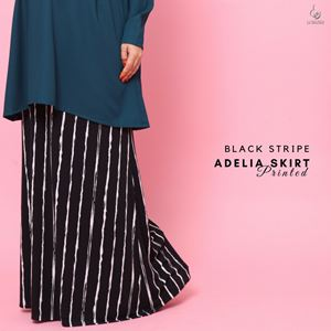 Adelia Skirt Printed : Black Stripe