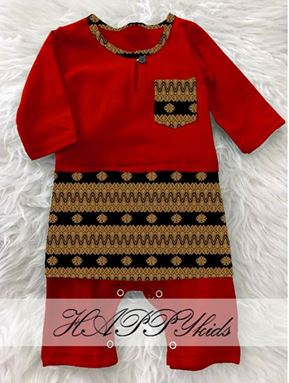 BAJU MELAYU ROMPER / JUMPER WITH ATTACHED SAMPIN ( RED )