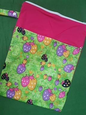 Wetbag For Cloth Diapers - Double Zip  (Strawberry)