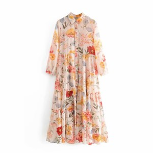 BIG FLOWERS PRINTED LONG DRESS