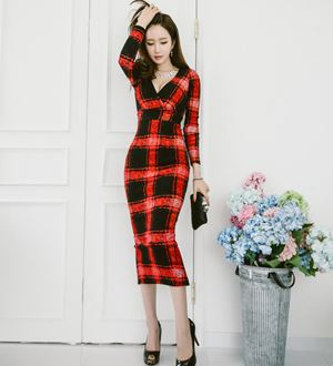V-Neck Plaid Slim Dress