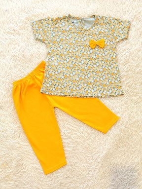 [SIZE 24/30M ] Baby Girl Set : FLOWER MINT GREEN WITH MUSTARD PANT SDM