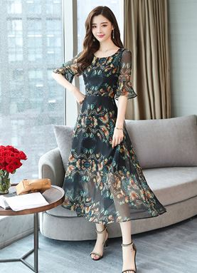 Butterfly Chiffon Dress