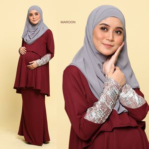 Peplum Eleanor Brocade : Maroon