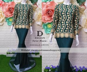 Kurung Saree Meera Emerald Green