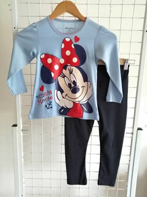 Girl Set 01 : Sky Blue Minnie Mouse Love  size 4/5 till 6/7