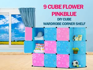 Flower Checker PinkBlue 9C DIY Cube w Corner Rack (BB9CR)