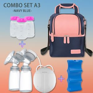 Combo Set A3 Navy Blue - V-cool + Double Breast Pump