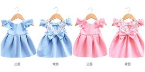 Flying Sleeve Lace Bow Halter Princess Dress