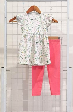 [SIZE 1/2Y] Girl Set Frock : MIX FLOWER WHITE WITH PINK PANT (1y - 6y) SPG