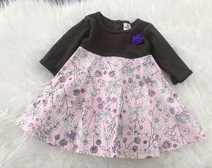 LAST PIECE SALE : Aisya Dress ( Dark Brown with Lavender Flower) Sz XXS, untuk 3-6bulan