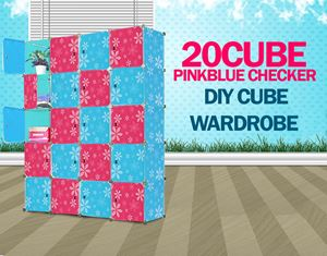 PLAIN CHECKER PINKBLUE 20C DIY CUBE (BB20)