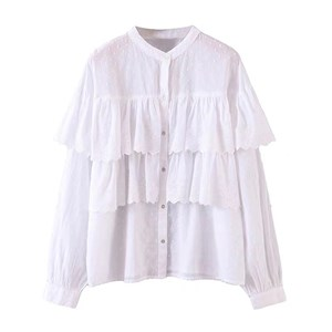 WHITE LAPEL EMBROIDERED TOP