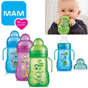 Mam Trainer Bottle Baby Learning Cup Non-Spill Toddler Easy Handle Grip 220ml