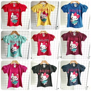 T-Shirt Girl Short Sleeve Hello Kitty Love: Size 2-8 (1 - 6 tahun)