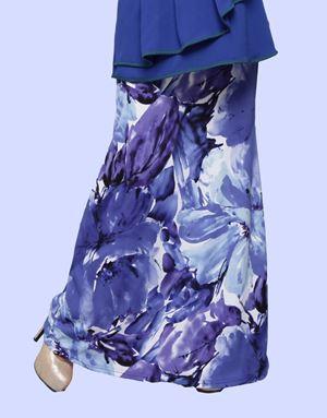 Adelia Skirt Printed : Ocean Blue Floral