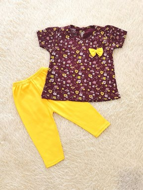 [SIZE 24/30M] Baby Girl Set : FLOWER MAROON WITH YELLOW PANT SDM