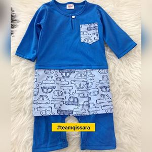 Rompers Baju Melayu ( 9MTH - 2YRS) Blue with Cars Sampin