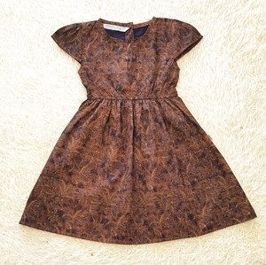 [SIZE  2Y - 6Y] Baby and Kids Dress LEAVES ABSTRACT BROWN Brand KF