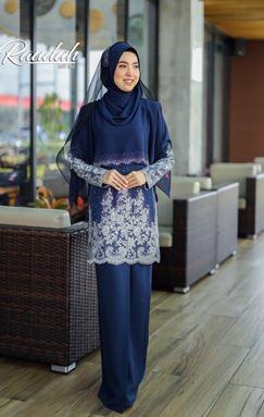 BAJU KURUNG MODEN RAUDAH NAVY BLUE (TANPA CAPE)