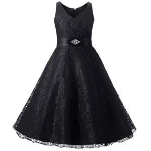 Girls Lace Princess Dress - BLACK  ( SZ 130-160 )