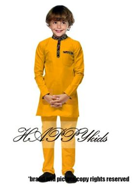 Kurta Raya Songket For Boy - Kuning