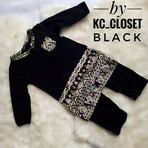 BAJU MELAYU ROMPER / JUMPER WITH ATTACHED SAMPIN ( BLACK)