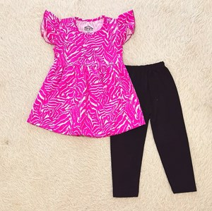 [SIZE 2/3Y ] Girl Set Frock : PURPLE PINK ABSTRACT WITH BLACK PANT (2y - 6y) SPG