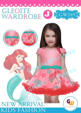 @  GW 245 DRESS  { J ~ MERMAID PINK  }  ( SZ 2Y - 13Y )