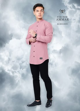 Kurta Ammar For Him Without Metal Tag (Dusty Pink)