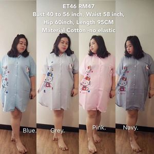 ET46 Ready Stock  *Bust 40 to 56inch/102-142cm