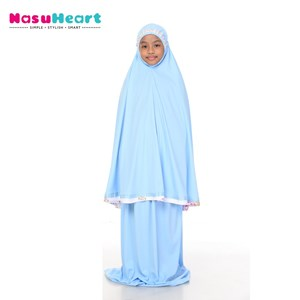 Telekung Rose Baby Blue