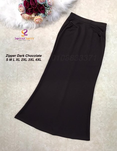 ZIPPER SKIRT DARK CHOCOLATE ( SAIZ S M L XL 2XL 3XL 4XL )