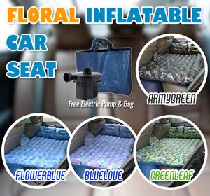 New floral Inflatable Car seat  (INFLATABLE + 2 PILLOW + 1 POUCH + 1 2WAY PUMP)