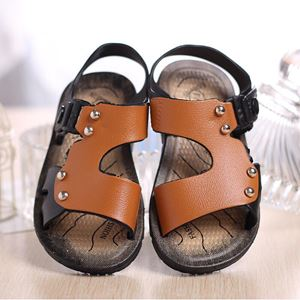 BB54 ( 1 )  KIDS SANDALS ( DARK BROWN )