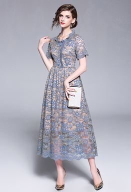 Hollow Blue Lace Dress