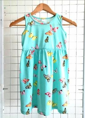 Kids Dress BUTTERFLY TURQUOISE : (1y - 6y) TW