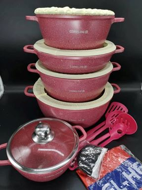 22PCS COREL-HG GRANITE ALUMINIUM COOKWARE  SET (PINK)